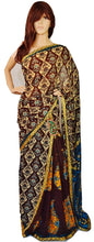 Brown, Cream & Blue Ready Made Pleats Saree