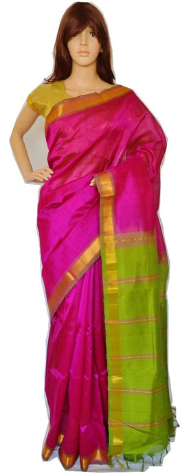 Magenta & Green Kanchipuram Silk & Cotton Saree