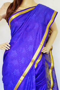 Purple  Shaded Blue & Gold Pure Silk Saree