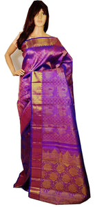 Purple Colour Kanchipuram Pattu Silk Saree