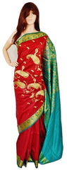 Burgundy & Green Colour Banaras Silk Saree