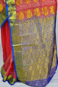 Peach,Blue & Gold Kanchipuram Pattu Silk Saree
