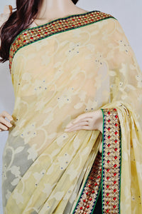 Beautiful Grey & Butter Colour Chiffon Marble Queen Saree