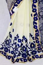 Navy Blue & Cream Colour Vidhya Sequins & Lace Saree