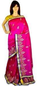 Influence Tassar  Fuchsia ,Blue & Gold Party Saree