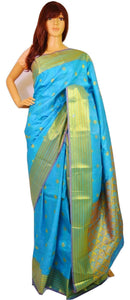 Blue & Gold Colour Kanchipuram Silk  Saree