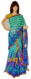Green Stones & Sequins Work One Minute  Saree
