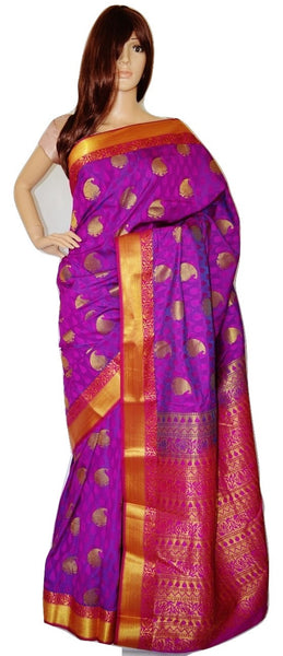 Purple,Fushcia & Gold Kanchipuram Silk Saree