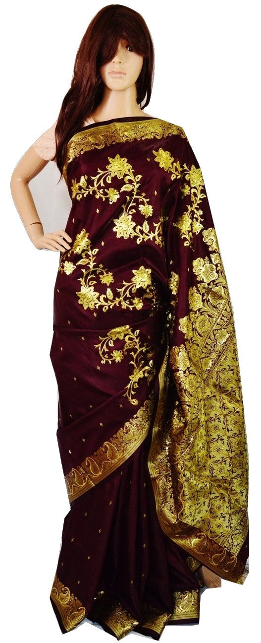Dark Berry & Gold  Sequins Work Banaras Silk Saree