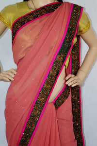 Superb Cinnamon Pink Colour Stone Work Saree