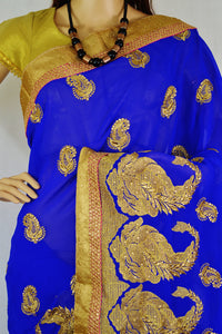 Latest Blue & Gold Colour With Stone Work Saree