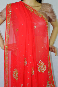 Beautiful Dark Pink Colour  Stone Work Saree