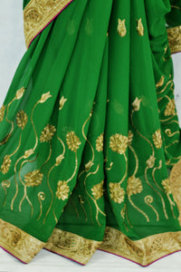 Beautiful Green &  Magenta  Colour Party Wear Saree