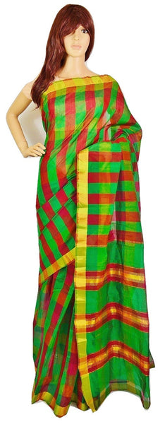 Gorgeous Green & Red Checked Cotton Saree