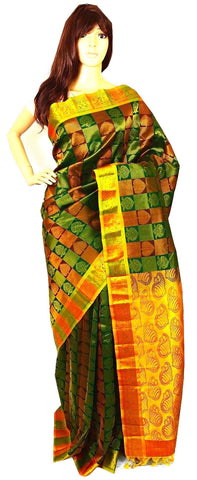 Green,Maroon & Gold Kanchipuram Pattu Silk Saree