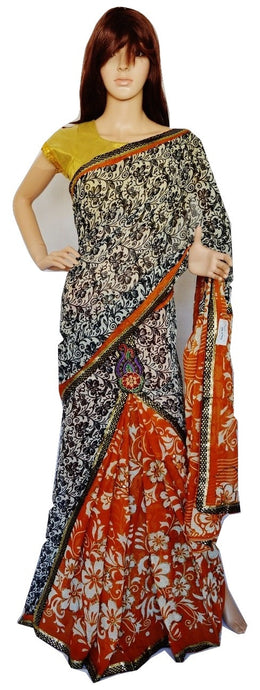 White & Black Sequins Work One Minute Saree