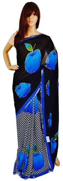 Black & Blue Colour Sequins Work Half & Half Saree