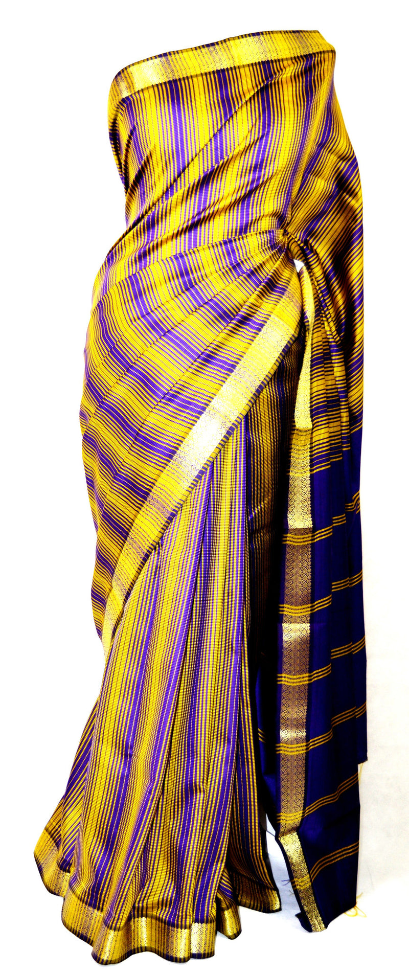 Purple & Gold Narashimma Dubion Art  Saree