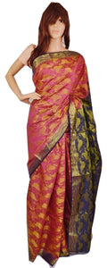 Pink & Purple Zari Work Raw Silk Saree