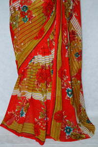 Red & Beige Dani Exclusive Fancy Saree