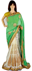 Mint & White Colour Pearl & Stone Work  Party Wear Saree