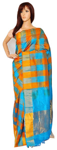 Blue & Orange Kanchipuram Silk Cotton  Saree