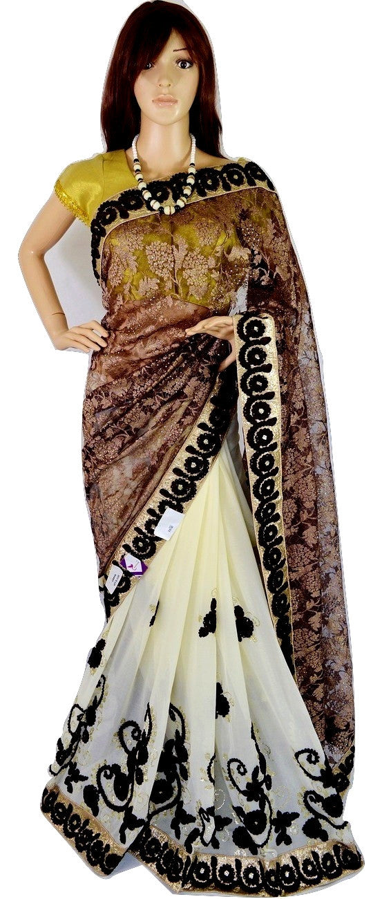 Brown & Cream Colour Vidhya Sequins & Lace Saree
