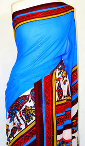 Blue Elephant Print Fancy Saree With Blouse Piece