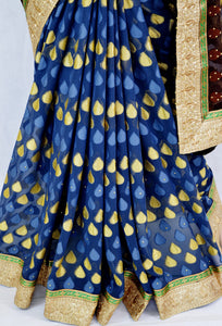 Denim Blue & Brown Stone Work Do Pal Jeard Saree