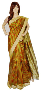 Cotton Green & Orange Stripe Saree