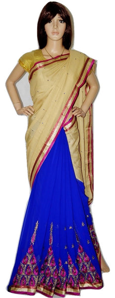 Gorgeous Blue,Pink & Cream Colour  Party Saree