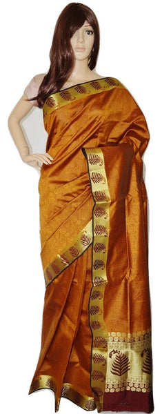 Light & Dark Brown Cotton Silk Bengal Handloom Saree