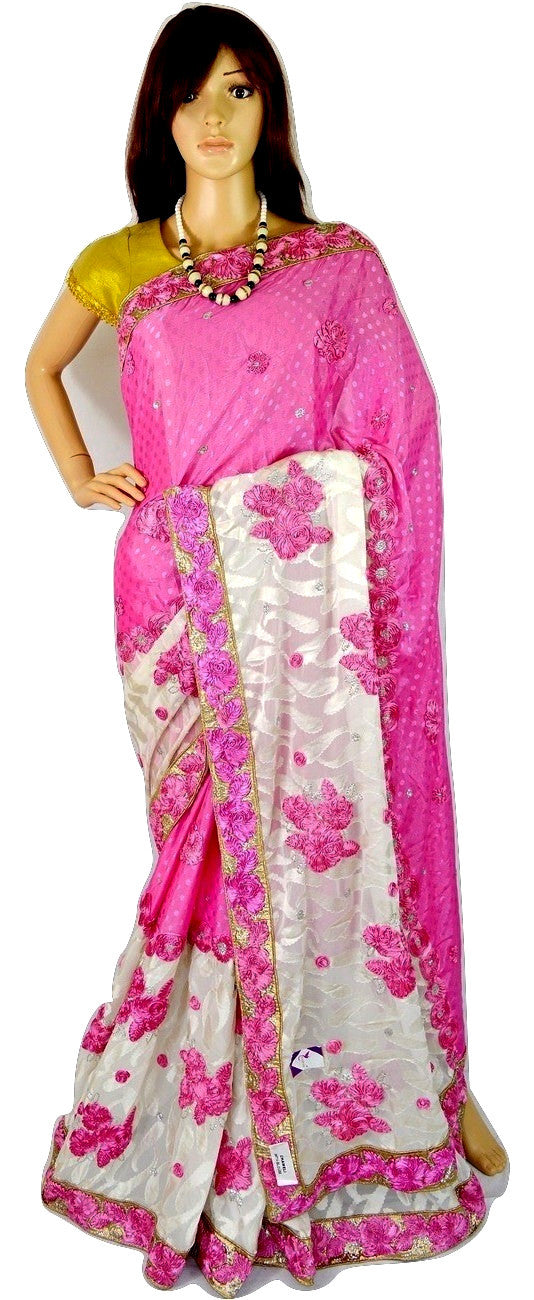 Latest Pink & White Colour Stones & Sequins Work Saree