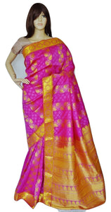 Pink & Coral Stone Work Kanchipuram Silk Saree
