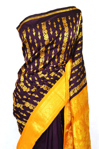 Chocolate & Orange Aparna  Silk Saree