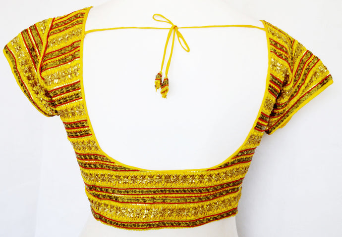 Designer Yellow Colour Blouse   One Size