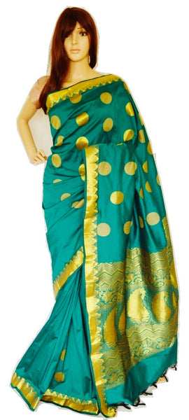 Green Colour  Beautiful Mini Kanchi Silk Saree