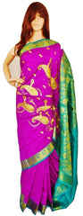 Fuchsia & Green Colour Banaras Silk Saree