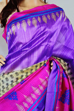Magenta ,Purple & Cream Colour Lichi 3 Star Saree