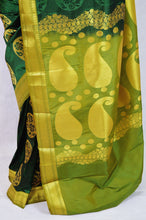 Dark Green ,Light Green & Gold Kanchipuram Silk Saree
