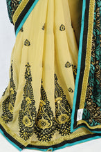 Exclusive Beige,Teal  & Black  Party Saree