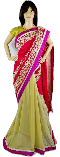 Elegant Dark Pink Colour Lace & Pearl Work Saree