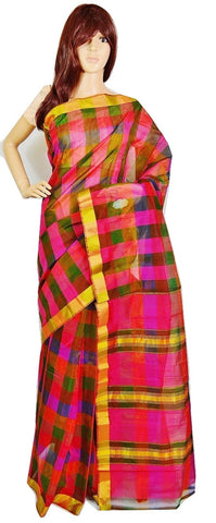 Gorgeous Green & Pink Checked Cotton Saree