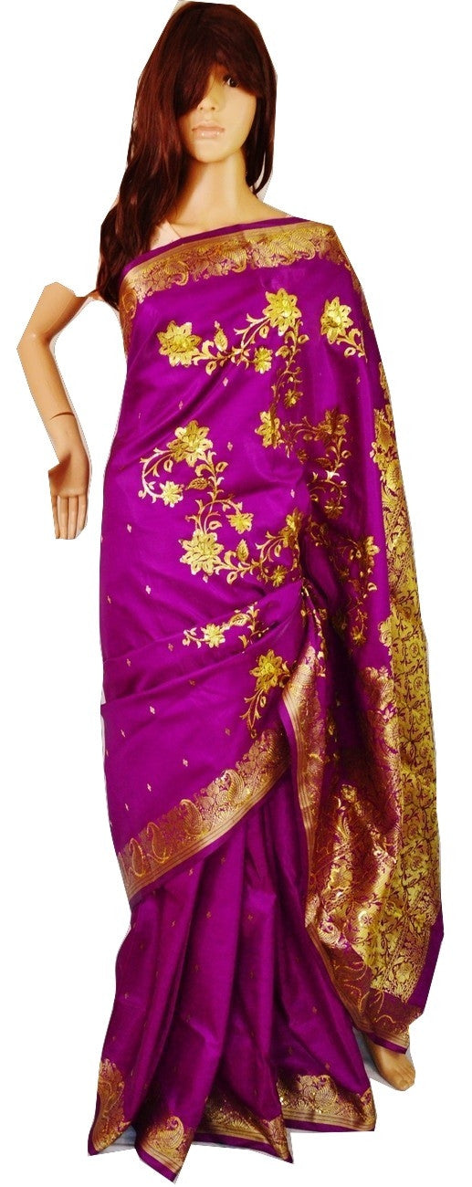Purple & Gold  Colour Sequins Work Banaras Silk Saree