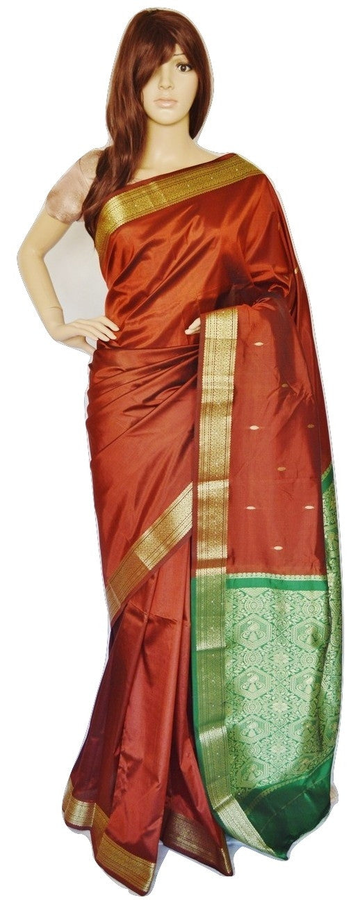 Brown,  Green  & Gold  Art  Silk  Saree