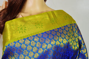 Blue, Light Green  & Gold  Kanchipuram Silk Saree
