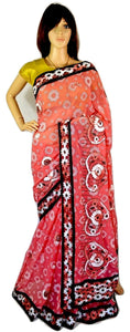 Latest 3D Flower Stitched  Georgette Party Saree