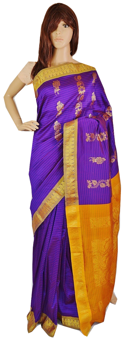 Gorgeous Purple  & Gold Stripe  Silk Saree