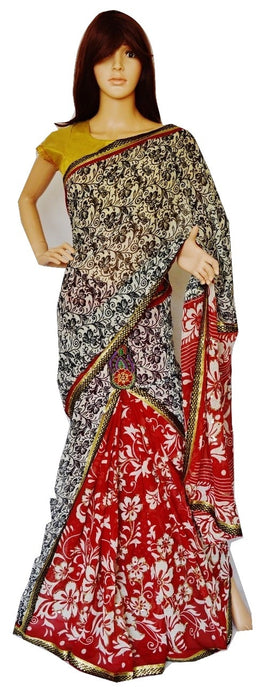 Light Burgundy & Black Stone Work One Minute Saree