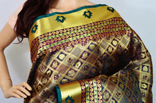 Maroon & Green Kanchipuram Pattu Silk Saree